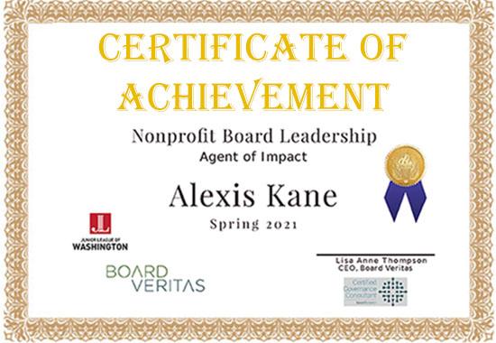 Certificate of Achievement, Board Veritas